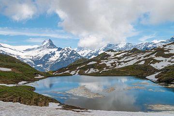 Bachalpmeer omringd door bergen met eeuwige sneeuw van Peter Apers