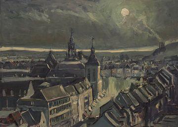 Maastricht bei Mondschein am Morgen von Nop Briex