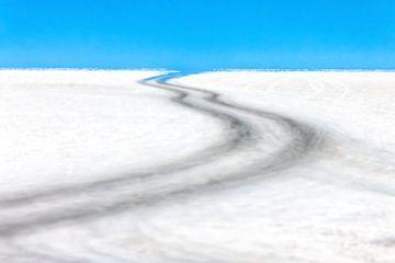 Weg door de zoutwoestijn van de Salar de Uyuni in Bolivia sur Wout Kok