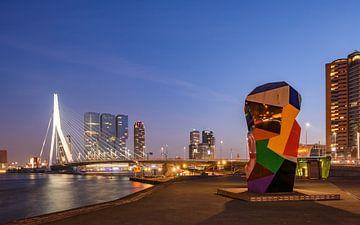 Skyline van Rotterdam , Erasmusbrug. van