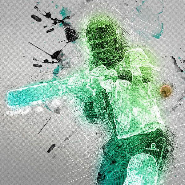 Cricket Sport Art HCC Den Haag van Frank van der Leer