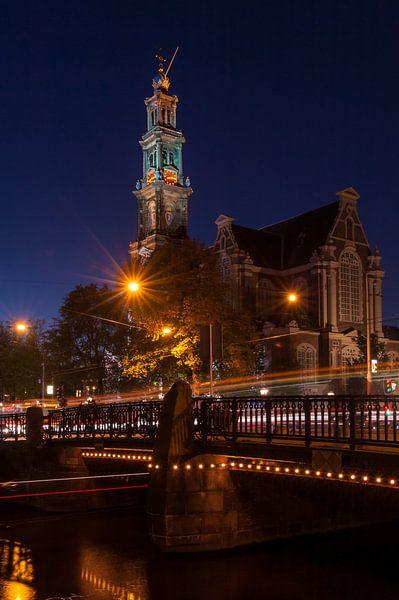 Westerkerk bij nacht van Wim Slootweg