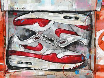 Nike air max 1 Schuhkarton Malerei von Jos Hoppenbrouwers