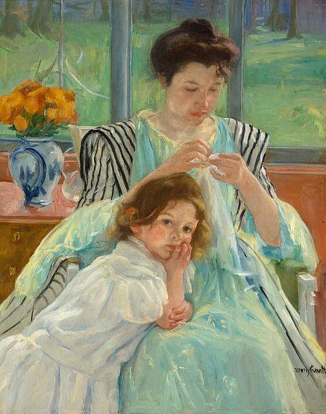 Nähende junge Mutter, Mary Cassatt - 1900 von Het Archief