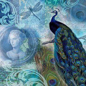 Blauer Pfau mit Medaillon von