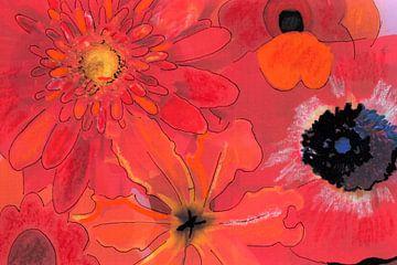 Mixed media met verschillende bloemen in rood/oranje. van Therese Brals