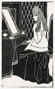 Vrouw aan kaptafel, Samuel Jessurun de Mesquita (c.1899) van Atelier Liesjes