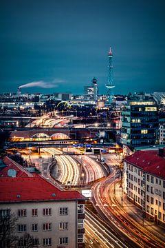 Zicht op de Berlijnse Funkturm van Munich Art Prints