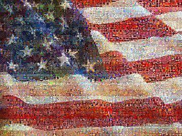 Amerikanisches Flaggenmosaik von Atelier Liesjes