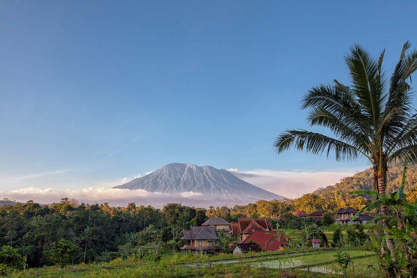 Rijst terrassen met de heilige berg Agung op achtergrond, Bali, Indonesië van Tjeerd Kruse
