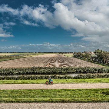 Landschap vlak onder de Waddendijk nabij Harlingen van Harrie Muis