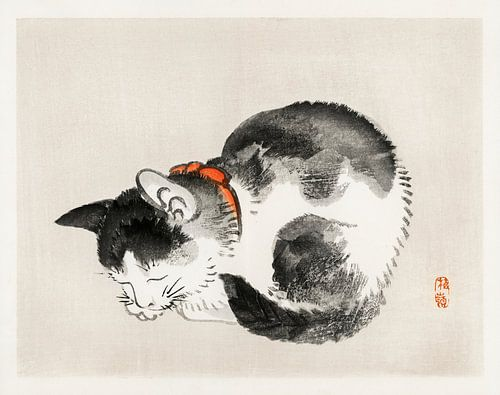 Slapende kat door Kōno Bairei (1844-1895).