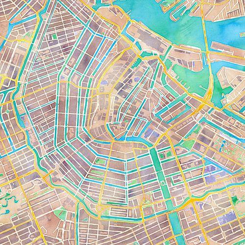 Kaart Amsterdam in waterverf von Creatieve Wereldkaarten