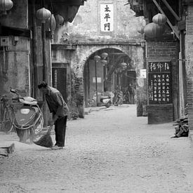 Vintage dorpsgezicht, China van Inge Hogenbijl