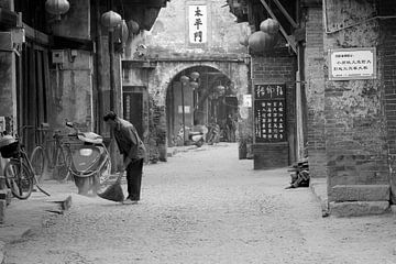 Vintage dorpsgezicht, China
