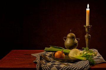 Stilleven: Een bord groenten van Carola Schellekens