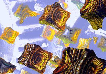 Drijvende kubussen van Frank Heinz