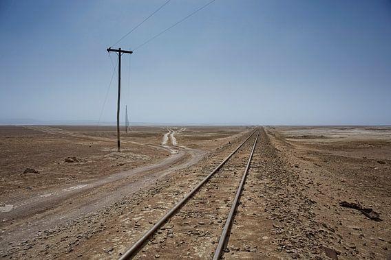 Spoorweg door de Farallon de Tara woestijn in chili