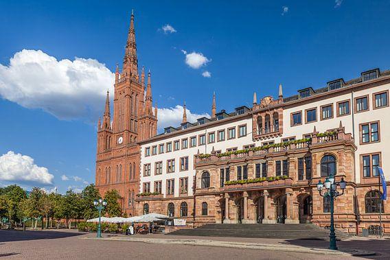 Marktkirche und neues Rathaus am Schlossplatz, Wiesbaden
