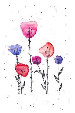 Aquarel Tulpen van Ms Sanderz