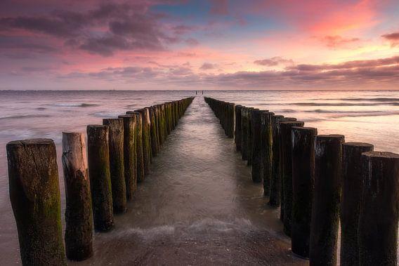 Paalhoofden op het strand tijdens zonsondergang