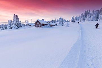 Zonsondergang in Sjusjøen nabij Lillehammer Noorwegen