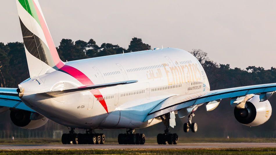 Emirates Airbus op weg naar de warmte