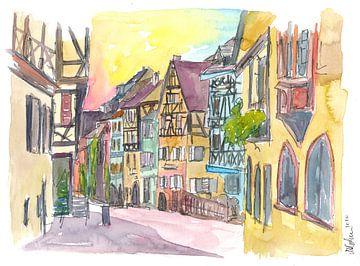 Reine Romantik im historischen Riquewihr Frankreich Altstadt Straßenszene von Markus Bleichner