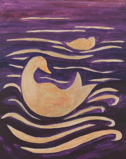 eenden in de golven