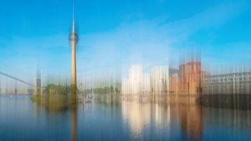 Panorama abstrakt Mehrfachbelichtung Medienhafen Düsseldorf mit Gehry Bauten und Fernsehturm von Dieter Walther