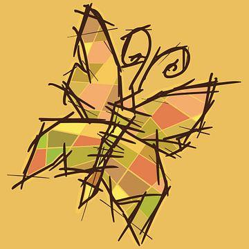 Farbflächen von Schmetterlingen - Skizzenstil mit Sommerfarben von Emiel de Lange