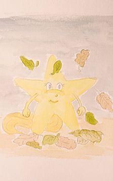 Lara  Kinderbild  Sternschnuppe Aquarell Malerei von Beate Gube