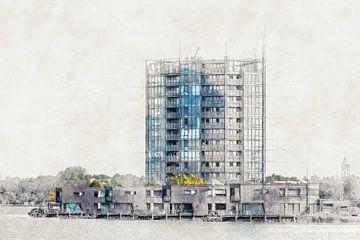 Architekturskizze der Häuser auf der Bergse Platte (Bergen op Zoom) von Art by Jeronimo