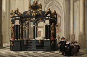 Een familiegroep bij het praalgraf van prins Willem I in de Nieuwe Kerk te Delft, Dirck van Delen