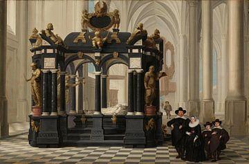 Eine Familie am Grab von Prinz William I. in der Nieuwe Kerk in Delft, Dirck van Delen
