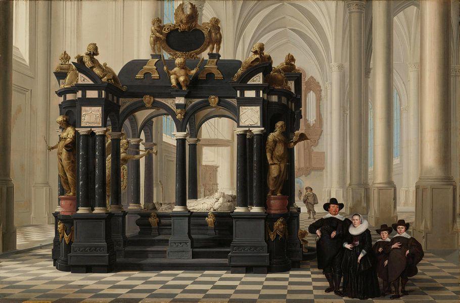 Een familiegroep bij het praalgraf van prins Willem I in de Nieuwe Kerk te Delft, Dirck van Delen van Meesterlijcke Meesters