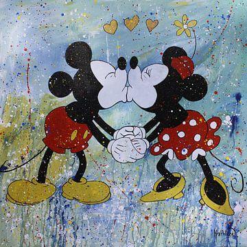 "Mickey en Minnie Mouse ""Verliefd"" van Kathleen Artist Fine Art"