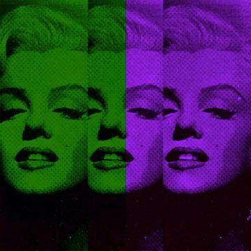Marilyn Monroe Neon Green Colourful Pop Art PUR van Felix von Altersheim