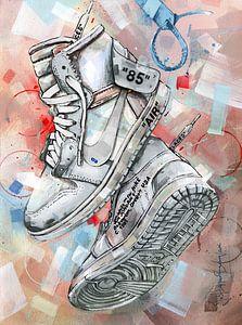 Nike air Jordan 1 Chicago Off White schilderij (wit) van Jos Hoppenbrouwers
