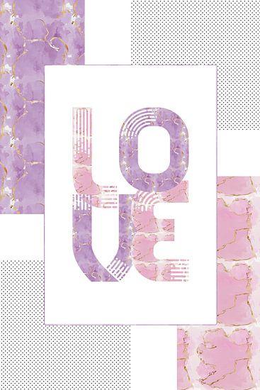 Grafische kunst, Goud, LIEFDE | roze en paars van Melanie Viola