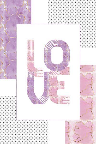 Grafische kunst, Goud, LIEFDE   roze en paars van Melanie Viola