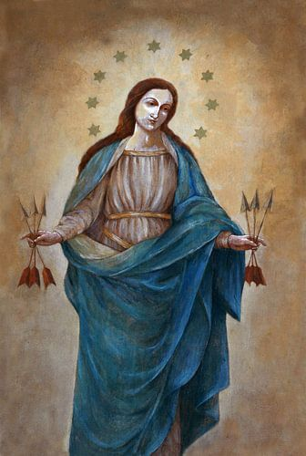Maagd Maria met 6 pijlen van Jolanta Mayerberg