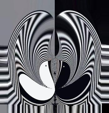 Birds -  Black and White Abstract von Annaluiza Dovinos