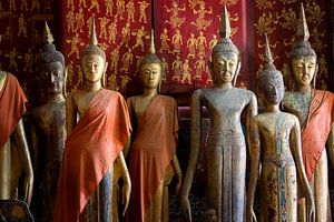 Buddha statues in a temple in Luang Prabang, Laos