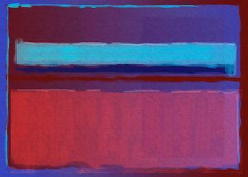 Abstract schilderij van blauw naar rood van Rietje Bulthuis