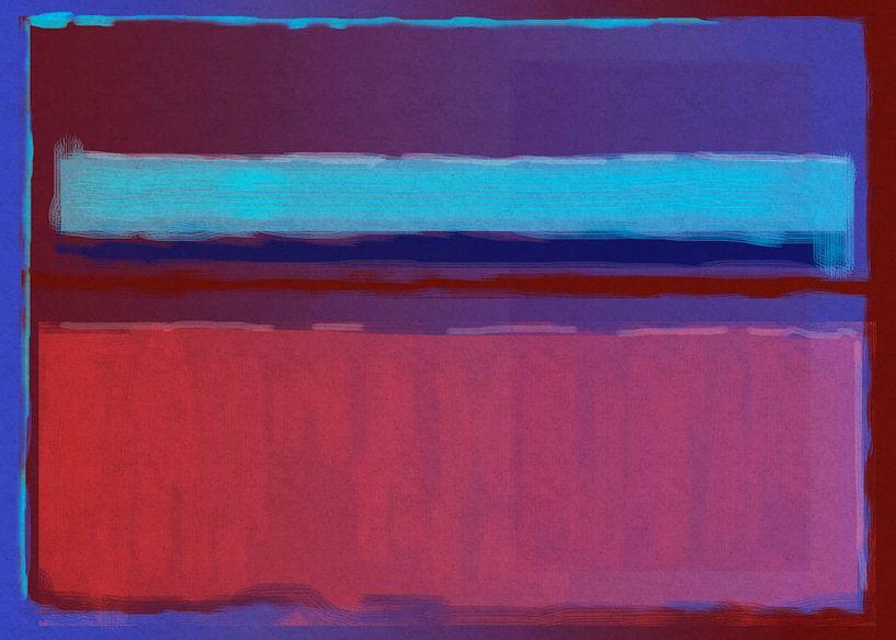 Peinture abstraite du bleu au rouge sur Rietje Bulthuis