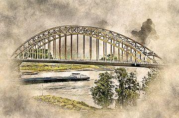 De Waalbrug bij Nijmegen oude stijl von Art by Jeronimo