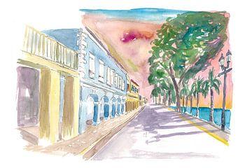 Frederiksted US Virgin Islands Koloniale Promenade bei Sonnenuntergang St Croix von Markus Bleichner