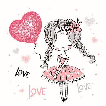 Ballerina in rosa Kleid und viel Liebe von Atelier Liesjes