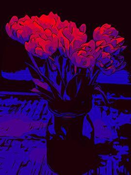 Bloemenposter Tulpen rood-blauw van Robert Biedermann